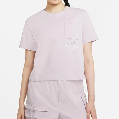 NIKE 上衣 短袖上衣 短版 運動 女款 粉紫 CZ8912-576 AS W NSW SWSH SS TOP