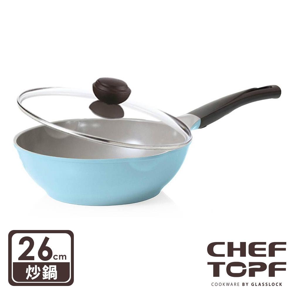 韓國 Chef Topf 玫瑰薔薇系列26 公分不沾炒鍋(附玻璃蓋)
