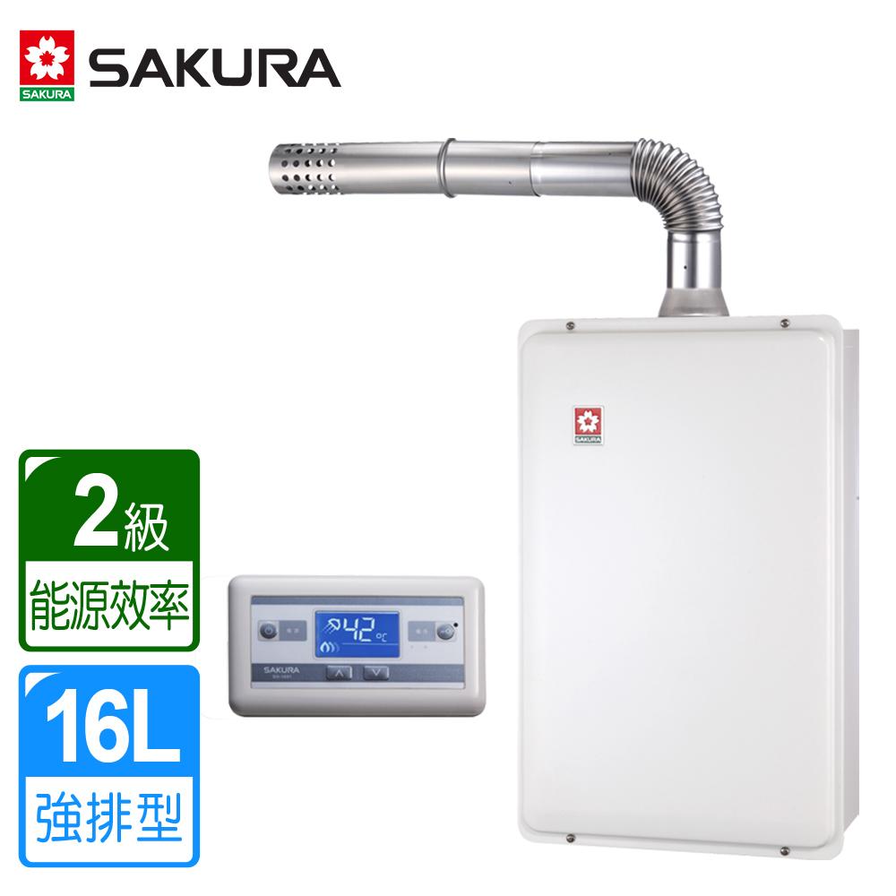 (下單登記送1800)櫻花牌 16L浴SPA 數位恆溫強排熱水器 SH-1691 (天然瓦斯) 限北北基桃中配送