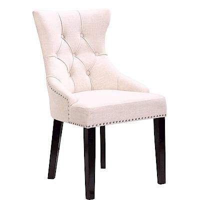 【AT HOME】現代輕奢華米白布實木腳餐椅/休閒椅(54*63*94cm)潘朵拉