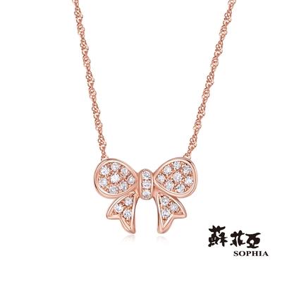 SOPHIA 蘇菲亞珠寶 - 可愛蝴蝶結 14K玫瑰金 鑽石項墜