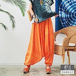 潘克拉 螢光橘純棉綁染飛鼠褲-橘色
