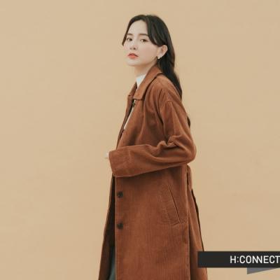 H:CONNECT 韓國品牌 女裝-排扣附腰帶長版外套-棕