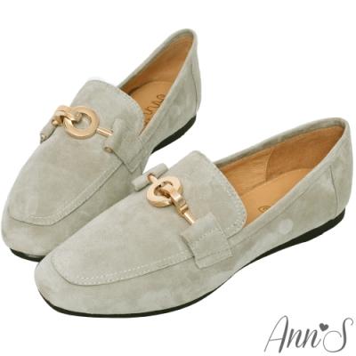 Ann'S爬枕頭山-訂製環扣全真皮懶人舒適平底紳士鞋-灰