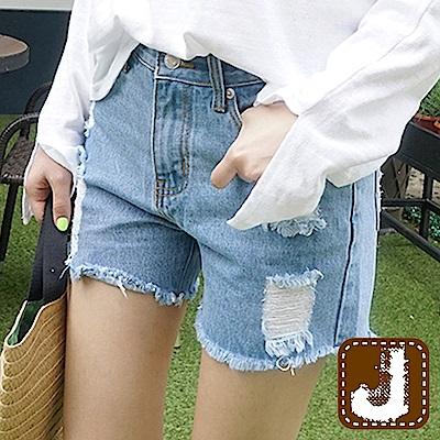 正韓 抽鬚刮破仿舊時尚短褲-(淺藍色)100%Korea Jeans