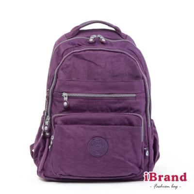 iBrand後背包 經典百搭超輕盈多口袋後背包-優雅紫