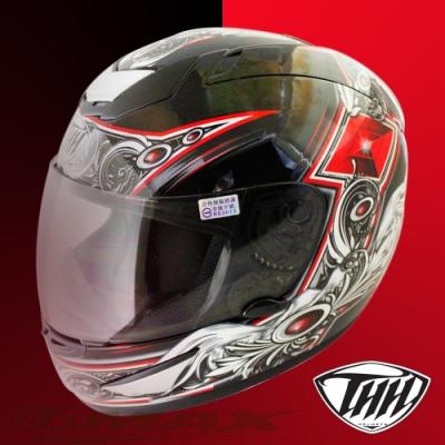 翅膀可掀式全罩安全帽TS41A-黑紅+新一代免洗安全帽內襯套6入