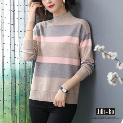 JILLI-KO 氣質OL撞色條紋半高領針織上衣- 卡/粉