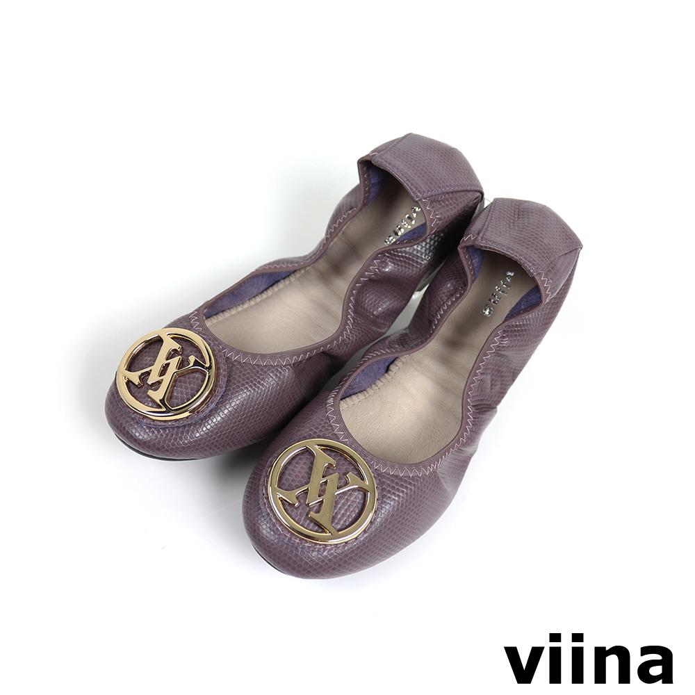 viina 經典款金扣蜥蜴紋摺疊鞋MIT-深紫色