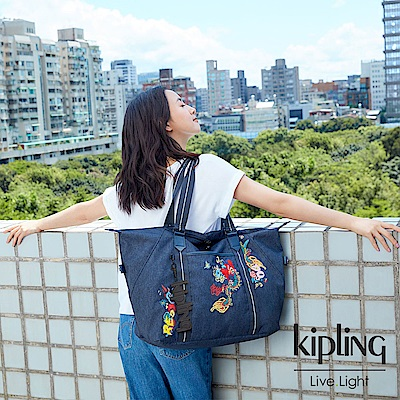 Kipling 設計師Angel Chen藏青音階刺繡手提側背包-ART M