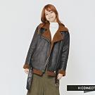H:CONNECT 韓國品牌 女裝 - 翻領造型仿皮外套-黑 (快)