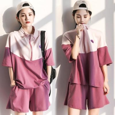 【韓國K.W.】(預購)搶眼休閒自然撞色運動套裝褲-2色