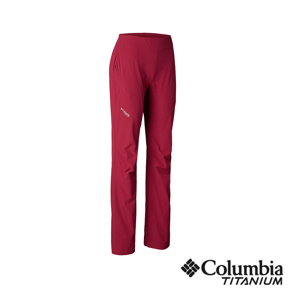 Columbia 哥倫比亞 女款-鈦 UPF50防潑長褲-紫紅 UAR26820PD