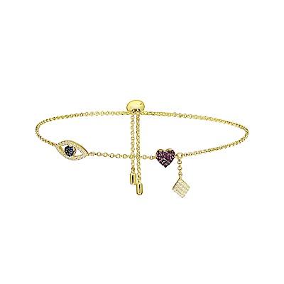 apm MONACO法國精品珠寶 閃耀金色幸運符號鑲鋯可調整手鍊手環