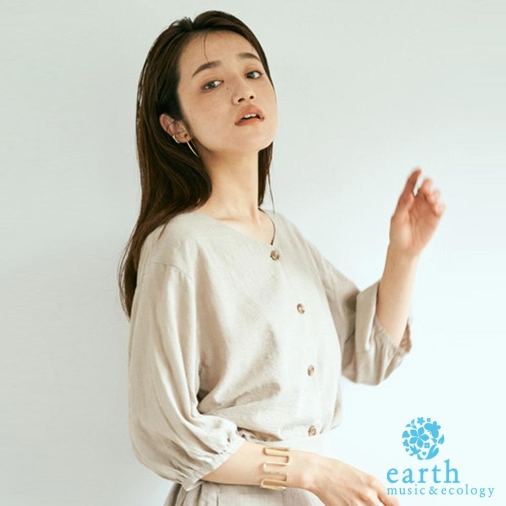 earth music 2WAY正反兩穿足球格紋排釦上衣