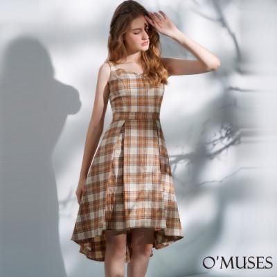 OMUSES 心型領格紋前短後長洋裝