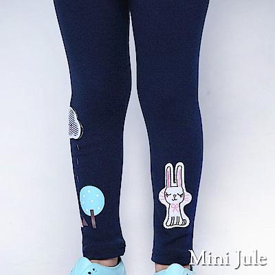 Mini Jule 內搭褲 小兔子貼布雲朵雨天印花彈性長褲(寶藍)