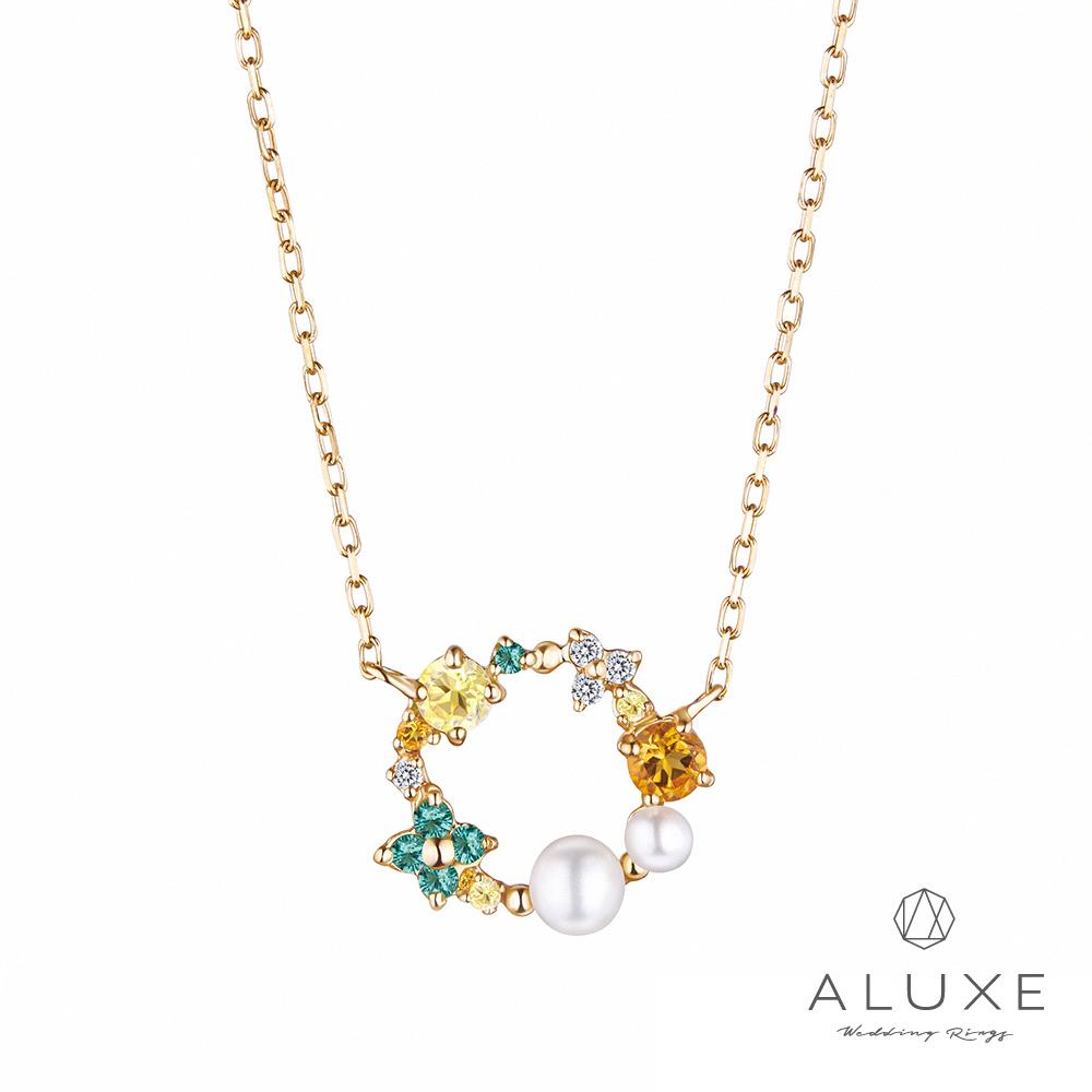 A-LUXE 亞立詩 Shine系列 10K綠色戀愛鑽石項鍊