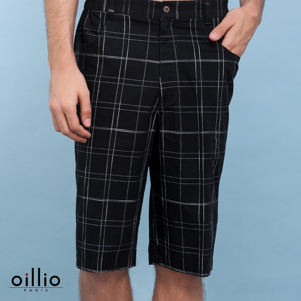oillio歐洲貴族 休閒細條格紋短褲 純棉布料舒適穿搭 黑色