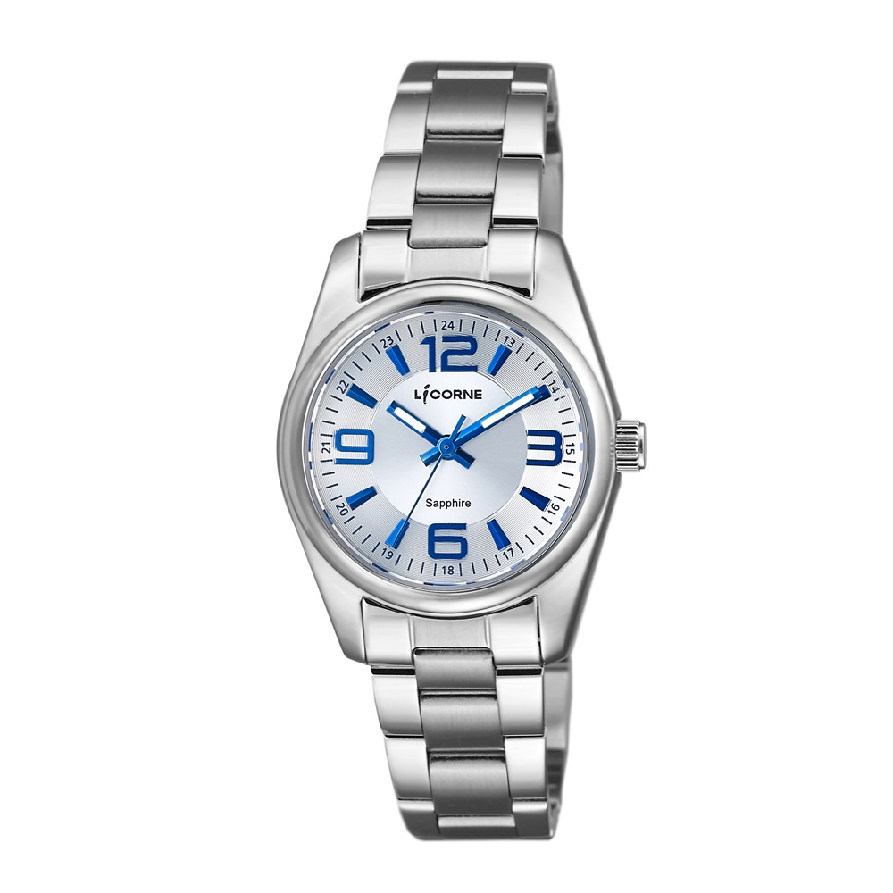 LICORNE 力抗錶 都會款 簡約風格手錶 白×藍×銀/29mm @ Y!購物
