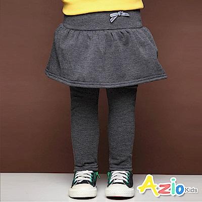 Azio Kids 長褲 蝴蝶結假兩件荷葉裙不倒絨內搭長褲(灰)