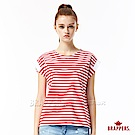 BRAPPERS 女款 拼接羅紋連袖條紋短袖T恤-紅白條