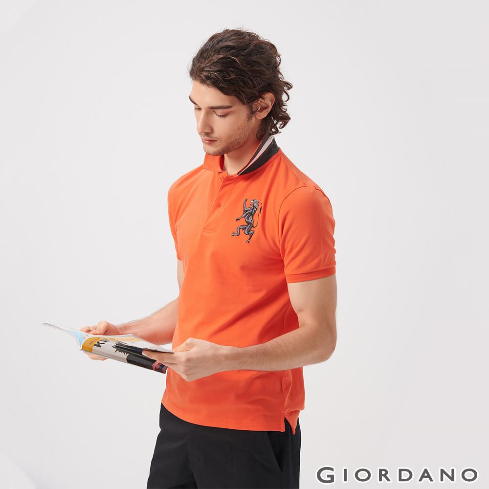 GIORDANO 男裝勝利獅王漸層刺繡彈力萊卡POLO衫-37 錦鯉橙