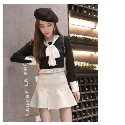 2F韓衣-韓系A字不規則腰帶短裙-杏(M、XL)