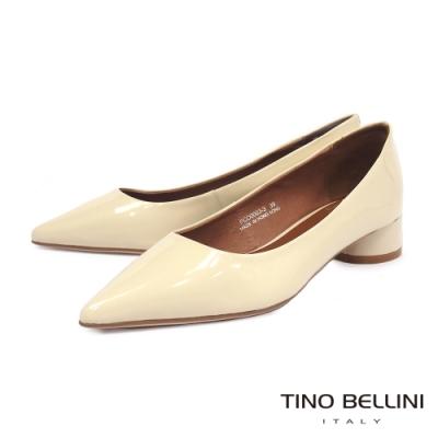Tino Bellini 簡約鏡面牛漆皮中低跟鞋 _米白