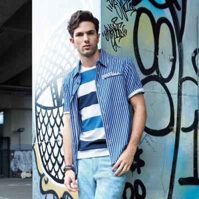BIG TRAIN  文青風條文短袖襯衫-男-藍白條