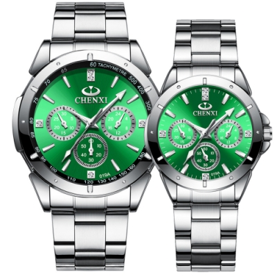 Mirabelle夜光絲綢 方鑽假三眼不鏽鋼男女對錶 綠面  29+43mm