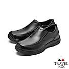 TRAVEL FOX(男) 無重力 超輕舒適牛皮直套式休閒紳士鞋 - 飄浮黑