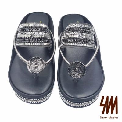 【SM】個性圓頭夾腳一字金屬鏈厚底拖鞋