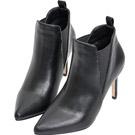 AIR SPACE 歐美時尚尖頭鬆緊高跟踝靴(黑)