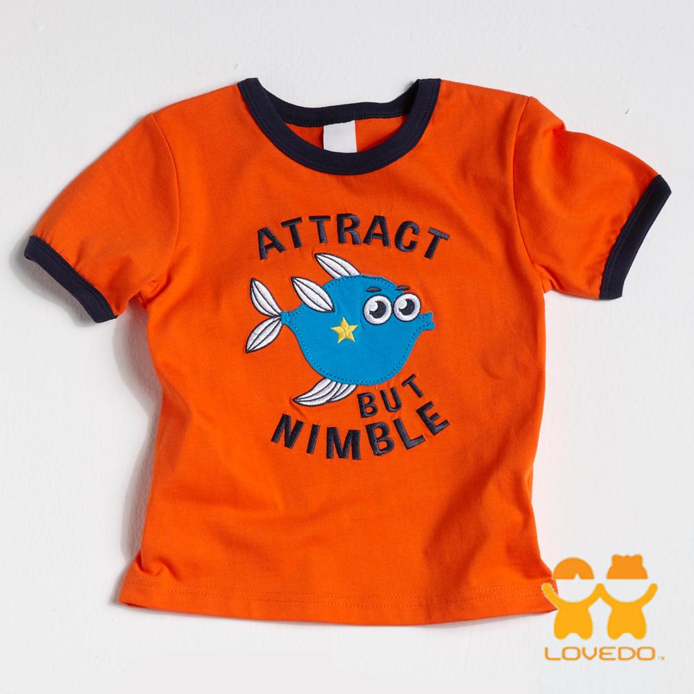 【LOVEDO-艾唯多童裝】敏捷的尖嘴籃子魚 拼布式短袖T恤 (橘)