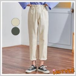 休閒褲 高腰寬鬆休閒直筒長褲GD01113-創翊韓都現貨