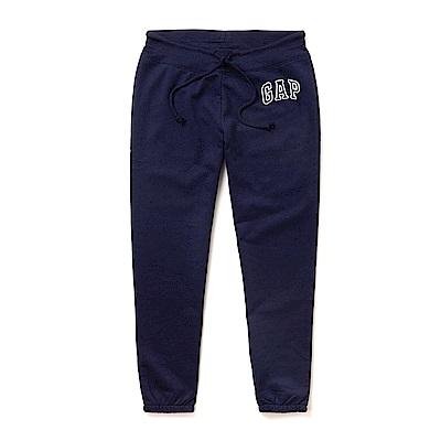 GAP 經典刺繡文字束口長棉褲(女)-深藍色