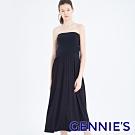 Gennies奇妮-長版一字領孕婦洋裝-黑(T4F18)
