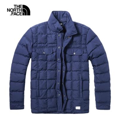 The North Face北面男款藍色防潑水輕量羽絨外套|3VUKH2G