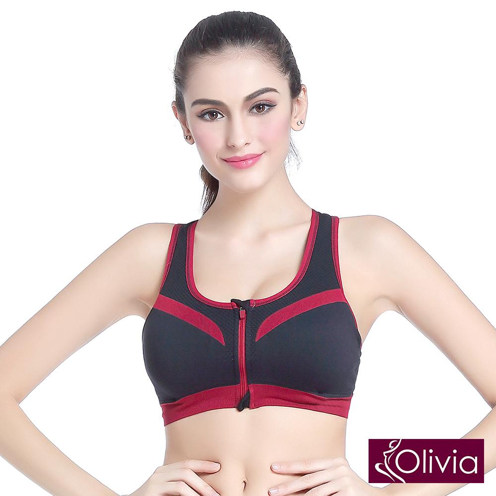 Olivia 無鋼圈防震聚攏撞色BRA運動內衣-拉鍊款-黑色