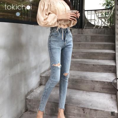 東京著衣 率性自然破洞刷白不修邊牛仔褲-M.L