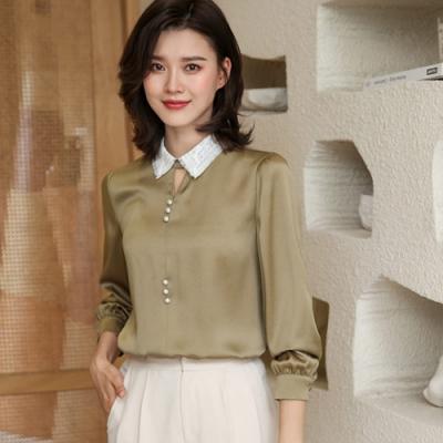 設計所在Lady-雪紡衫長袖蕾絲娃娃領上衣時尚襯衫(三色M-2XL可選)