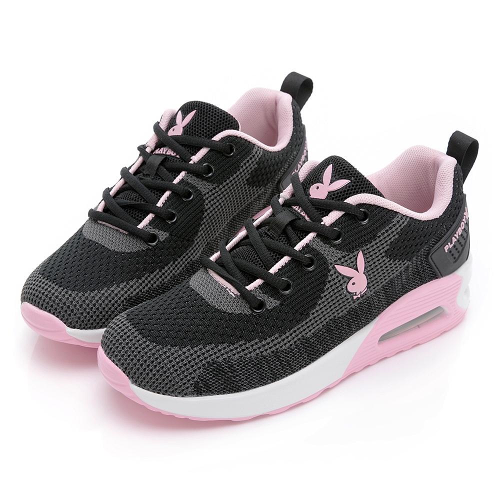 PLAYBOY 舒適進化 飛織抗震氣墊鞋-黑粉-Y7252C9