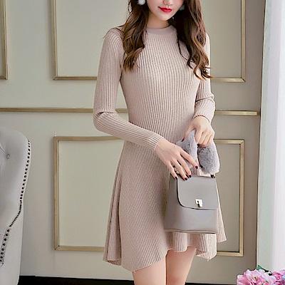 DABI 韓系氣質圓領修身純色長袖洋裝