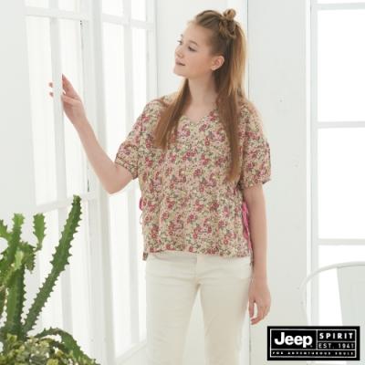 JEEP 女裝 清新小碎花短袖襯衫-粉色