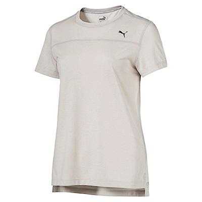 PUMA-女性慢跑系列素色短袖T恤-淺灰-歐規
