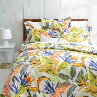 Cozy inn 天堂-綠 加大四件組 300織精梳棉薄被套床包組