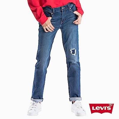 Levis 男友褲 中腰寬鬆版牛仔長褲 Warm Jeans 刷破補丁