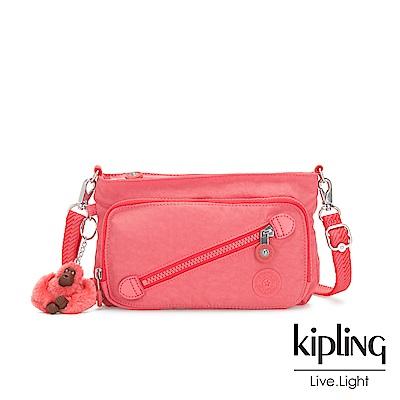 Kipling 甜美蜜桃橘素面斜拉鍊肩背包-MILOS