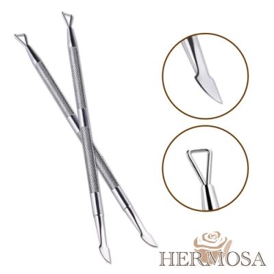 HERMOSA 凝膠指甲雙頭不鏽鋼防滑卸甲刨/修飾筆 2入